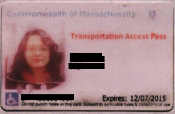 Boston's Disability TAP Card. Note the blue handicapped logo at the bottom left corner.